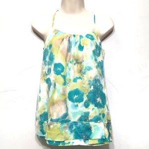 Banana Republic Silk Watercolor Halter Top Blouse